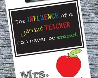 Teacher Clipboard, Elementary Teacher Gift, Favorite Teacher Gift Idea, End of Year Personalized Teacher Gift, Red Apple, Teacher Thank You