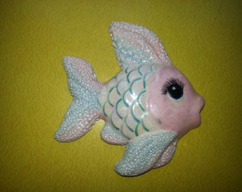 Vintage 1950s Pink and Blue Pearlized Hand Painted 3D Fish Wall Hanging CUTE!