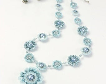 Shabby chic necklace, boho wedding necklace, blue flower necklace, free shipping, frill flower, 509