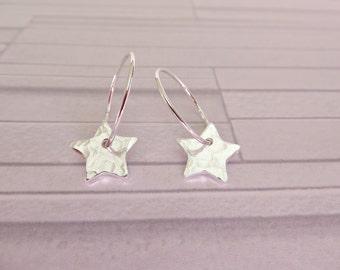 Silver star earrings, Hammered star hoops, Silver textured hoops, Star charm earrings, Hammered star hoops, Star earrings, Made in UK