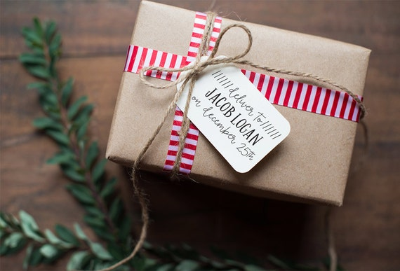 Custom Deliver To Stamp, Custom Christmas Tag Stamp, Christmas Gift Tag Stamp, Custom Gift Tag Stamp, Custom Holiday Gift Wrap Stamp - CH1