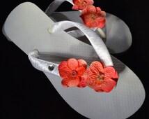 WEDDING FLIP-FLOPS, coral pink hydrangea with swarovski crystals