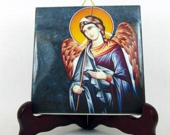 Saint Raphael the Archangel ceramic tile handmade catholic art religious gifts catholic icon religious art St Raphael icon made in Italy