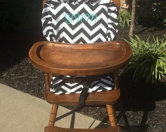Wooden Highchair Cover/Cushion/Pad: Black  Chevron for wooden/vintage highchairs. Removable foam . Optional monogramming.