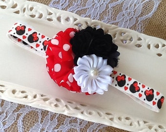 Minnie Mouse Headbands,Girls Adjustable Headbands, Baby Disney Headbands,Baby Girl Headbands,Headbands,Disney Headbands,Red Headbands