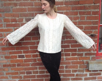 1970's Cream Lace Blouse with Bell Sleeves