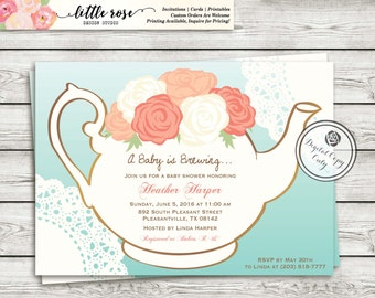Garden tea party baby shower invitation a baby is brewing invite