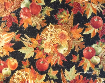 Thanksgiving Fabric, Timeless Treasures Golden Harvest CM3212 Bounty, Gold Metallic Fall Quilt Fabric, Cornucopia, Apples, Leaves, Cotton