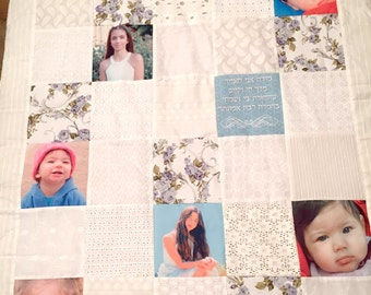 Handmade Floral Photo Quilt. Patchwork Picture Quilt. Memory Photo Quilt with YOUR PHOTOS. Free Shipping Photo Quilt. Soft Floral Colors