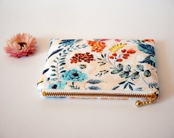 Floral zipper bag, small cosmetic pouch, medicine pouch, floral coin purse, gift for garden lover