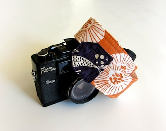 Orange camera strap, SLR DSLR camera strap, photographer gift, asian print, canon camera strap