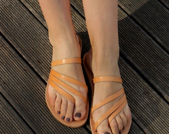 Leather Sandals, Handmade Greek Leather sandals, Natural Color, Women's