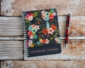 Personalized Notebook Custom Journal Spiral Notebooks Small Note Books Flowers Personalized Gifts Bridesmaid Gifts Stocking Stuffer NB1001