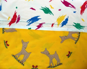 RESERVED FOR MARYANNE - Gorgeous vintage handmade baby rug - applique & embroidered deers and bright breezy reversible fabric