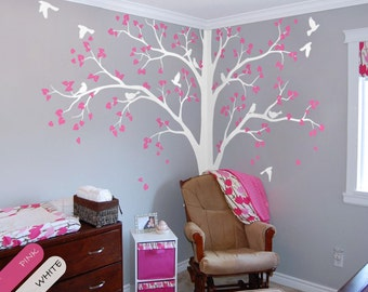 Tree Wall Decal Full Corner Tree decal Nursery Wall Decoration Tree Wall Sticker Set of Two trees Wall Art Tattoo Wall Mural Decor - 086