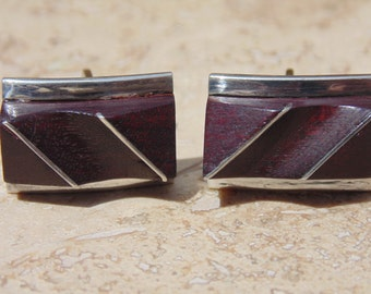 Vintage Taxco Sterling Silver and Rosewood Contoured Cuff Links