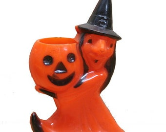 1950s Halloween Hard Plastic Jack-O-Lantern with Witch Candy Container