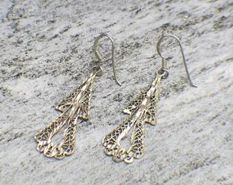 Sterling Silver Filigree Design Dangle Earrings