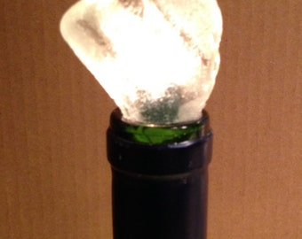 Lighted Bottle Lamp with a Stunning Frosted White Sea Glass Topper Exclusive Design Home Decor from Crafts by the Sea.