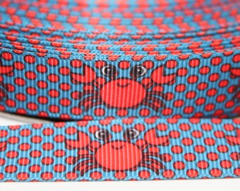 Crab 5/8 Inch Grosgrain Ribbon by the Yard for Hairbows, Scrapbooking, and More!