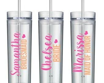 Bridesmaid Cups, Bridesmaid Tumblers - Wedding Party Acrylic Tall Tumblers - Bridesmaid Gift, Wedding Party Tumblers