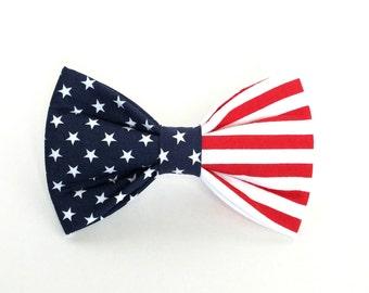 Patriotic American Flag Dog Bow Tie, pet bow tie, collar bow tie, wedding bow tie