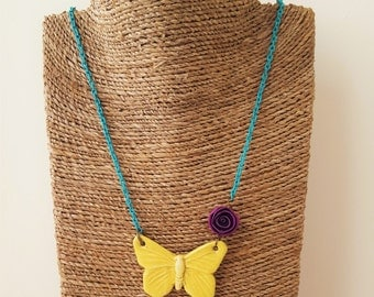 Yellow Fluttering Butterfly Necklace