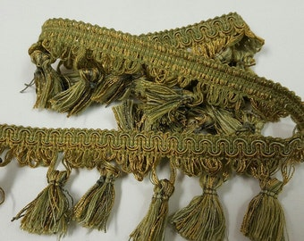 Mingle Colors Green and Gold Tassel Fringe - Decorative Trim 946