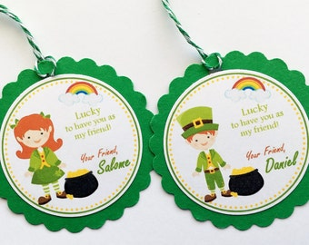 Set of 12 Personalized St. Patrick's Day Favor Tags, St Patricks Day Tags, Patricks Tags, St Patricks Day Classroom Gift, Kids St Patricks