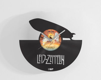 Led Zeppelin wall clock from upcycled vinyl record (LP) | Hand-made gift for music lover | Led Zeppelin home wall decor, housewarming gift