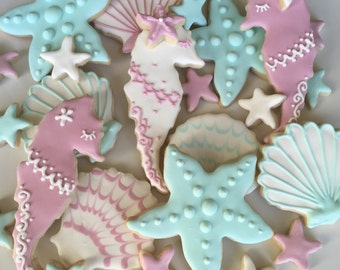 Assorted Sea Life Decorated Sugar Cookies - 2 Dozen