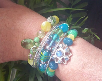 handmade stackable bracelets greens and yellows silver