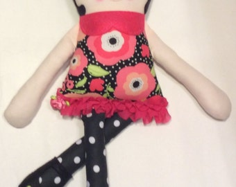 "Handmade Retro Mama Greta Cloth Doll 18"" Simone Plush Softie Rag Doll With Black Wool Felt Hair"