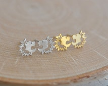Lion Earrings in Sterling Silver 925, Gold Lion Earrings, Lion Studs, Lion Jewelry, Leo Earrings, Jamberjewels 925