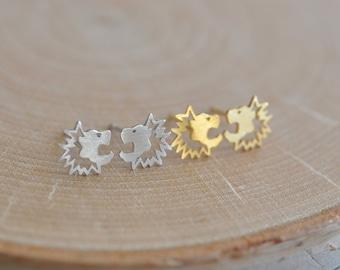 Lion Earrings in Sterling Silver 925, Gold Lion Earrings, Lion Studs, Lion Jewelry, Leo Earrings, Jamberjewels 925