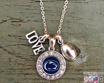 Penn State Nittany Lions 3 Charm Football Necklace