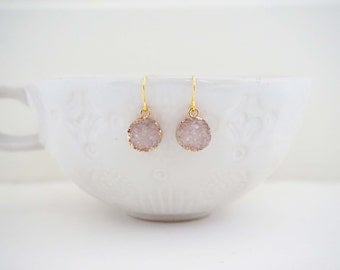 Light Pink and Gold Druzy Earrings