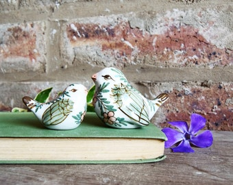 Pio • Vintage bird pottery, ceramic birds, ceramic bird figurines, handpainted pottery, Tonala style bird pottery, floral colourful ceramics