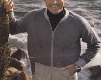 PDF men's zip up zippered cardigan 24 - 44 inch vintage knitting pattern pdf INSTANT download pattern only pdf boys