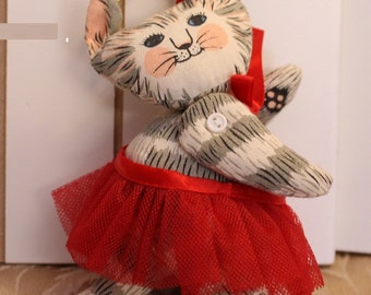 Vintage Cat Ornament in Red Tutu articulated arms and legs