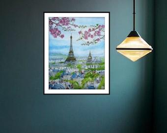 Paris in blossom. Original watercolor. From the ink and watercolor. Artwork Rosedraft