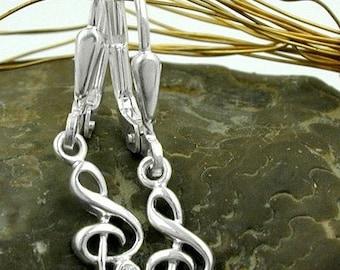 Earrings clef, silver 925