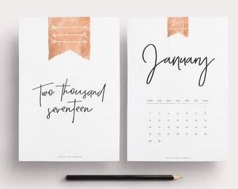 2017 Calendar, Printable Calendar, Rose Gold Calendar, Monthly Calendar, Wall Calendar, Wall Calendar 2017, Desk Calendar, 2017 Planner