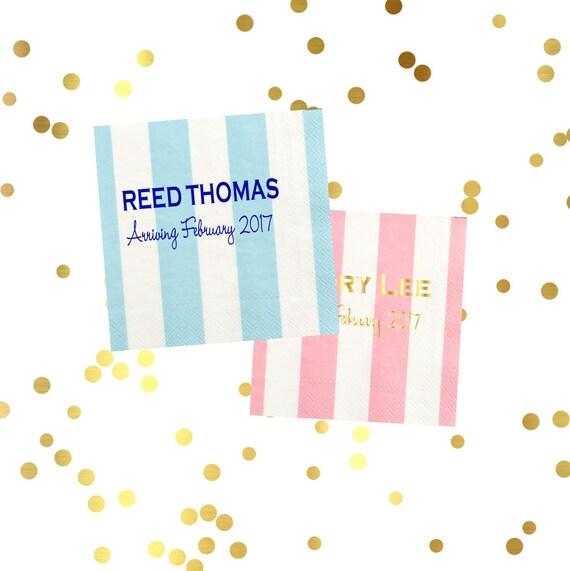 baby shower napkins, baby shower decor, striped napkins, personalized napkins, pastel napkins, custom napkins, personalized cocktail napkins