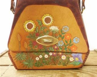 Vintage Handmade 1970s Boho Hippie Tooled Leather Artsy Flower Child Painted Saddle Bag Purse