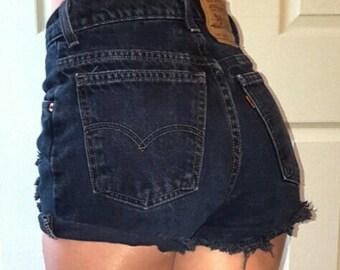 LEVI'S HIGH WAIST Vintage Jean Denim Shorts Destroyed Distressed 24 25 26 27 28 29 30 31 32 33 34 35 36 37 38 Authentic Gift Reworked Black