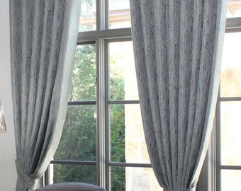 "Custom Drapes ""Bellini"", Grey - Blue Tones, Grommet Panels, Drapery Panels, Made-to-Order"