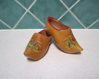 Two Vintage Wooden Souvenir Clogs from Holland -Windmill