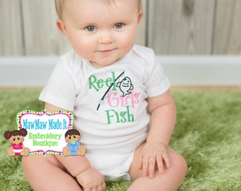Embroidered Baby Girl Bodysuit Onezie - Reel Girls Fish