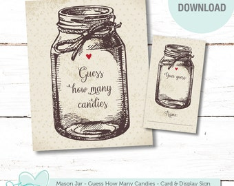 Mason Jar Guess How Many Candies, Baby Shower Game, Bridal Shower Game, Printable, Instant Download, MMs Game, Jelly Bean Game, Candy, 1J